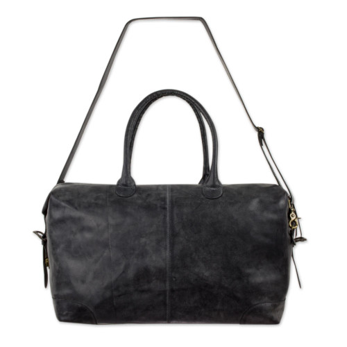 Artisan Crafted Casual Charcoal Grey Leather Travel Bag 'Charcoal Grey Traveler'