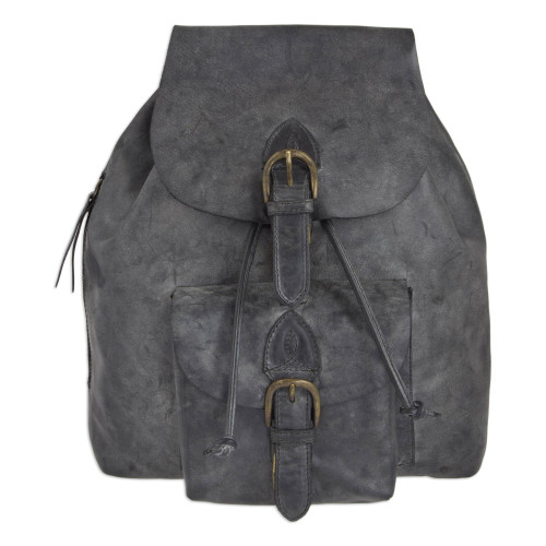 Weathered Charcoal Leather Handcrafted Men's Backpack 'Weathered Charcoal'