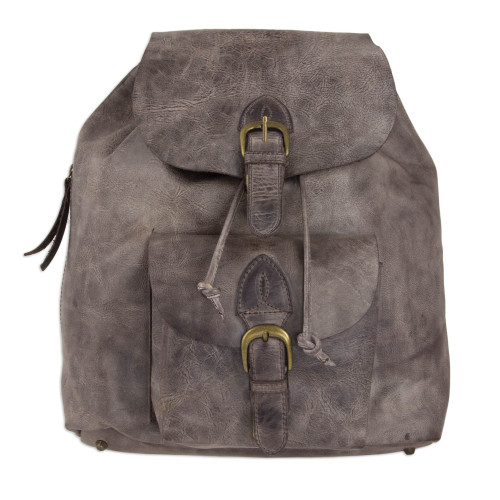 Handcrafted Men's Leather Backpack in Weathered Brown 'Weathered Brown'