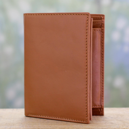 Tan Leather Wallet for Men Handcrafted in India 'Elegant Tan'