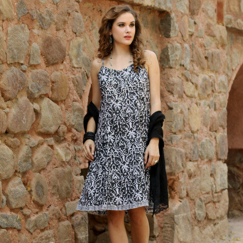 100 Cotton Black Printed Floral Dress from India 'Black Impressions'