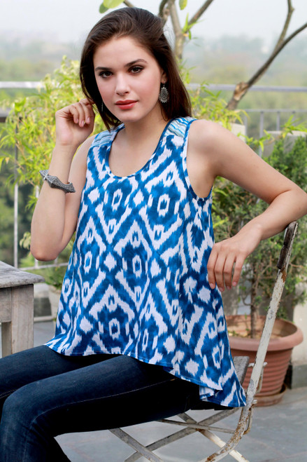 Women's Blue and White Cotton High Low Tank Top from India 'Abstract Blues'