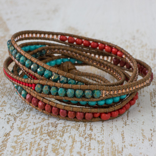 Red Brown Wrap Bracelet from Artisan Crafted Beaded Jewelry 'Fresh Achiote'