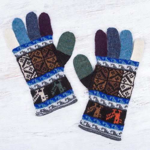 Artisan Crafted 100 Alpaca Colorful Gloves from Peru 'Peruvian Patchwork in Blue'