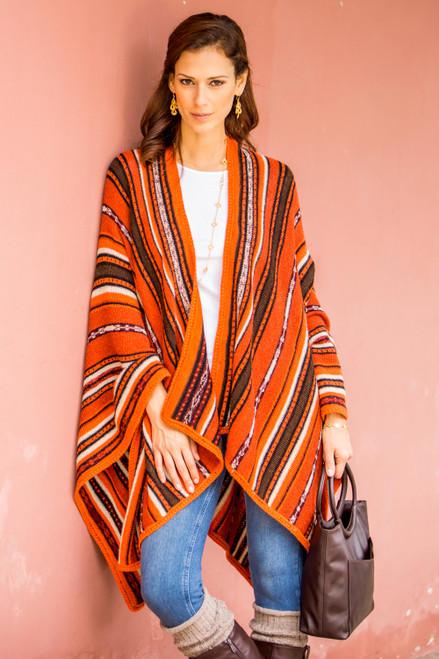 Artisan Crafted 100 Alpaca Striped Kimono Ruana in Orange 'Classic Stripe in Orange'