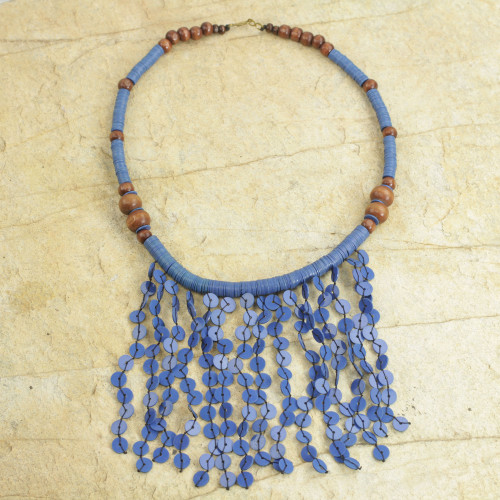 Recycled Plastic Beaded Waterfall Necklace in Blue 'Blue Taowre'