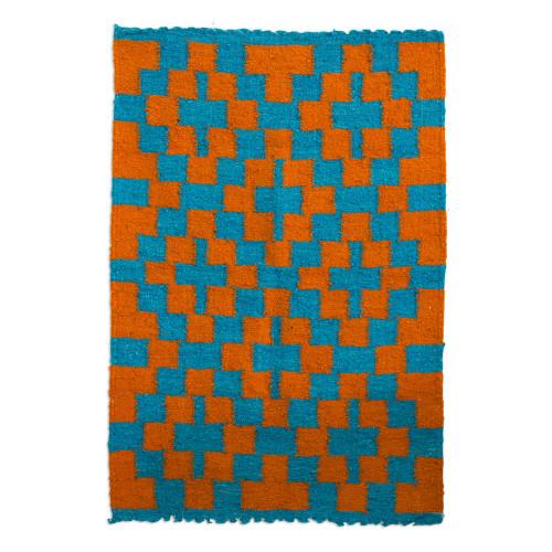 Cerulean Sunrise Hand Woven Wool Area Rug from Guatemala 'Sunrise Path'