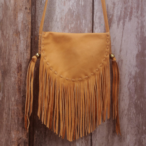Handcrafted Leather Sling Handbag in Caramel from Bali 'Caramel Travels'