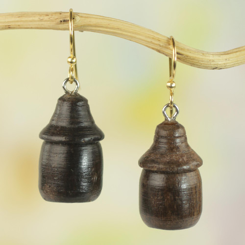 Handcrafted Sese Wood Hut-Shaped Earrings from Ghana 'Village Huts'