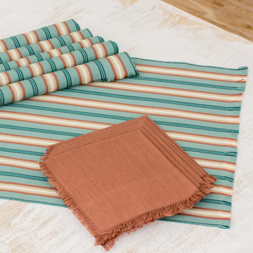 Six Cotton Placemats and Napkins in Celadon and Russet 'Celadon Trails'