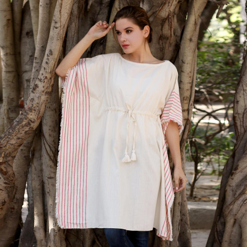 Handwoven Cotton Thorthu Beach Cover-Up Caftan from India 'Beach Rose'