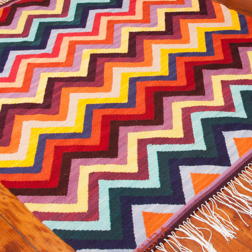 4x5 Colorful Handwoven Wool Area Rug from Peru 'Colorful Zigzag'