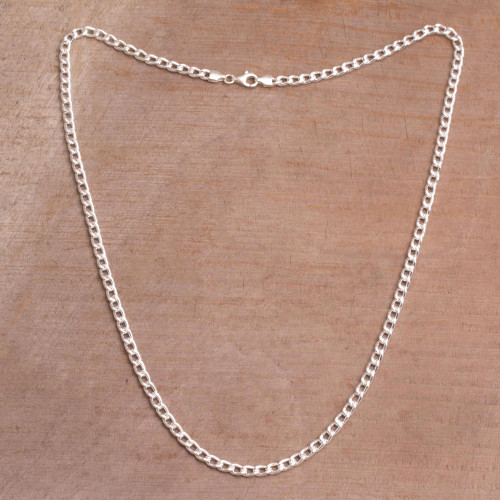 Sterling Silver Cuban Link Chain Necklace from Bali 'Heavenly Links'