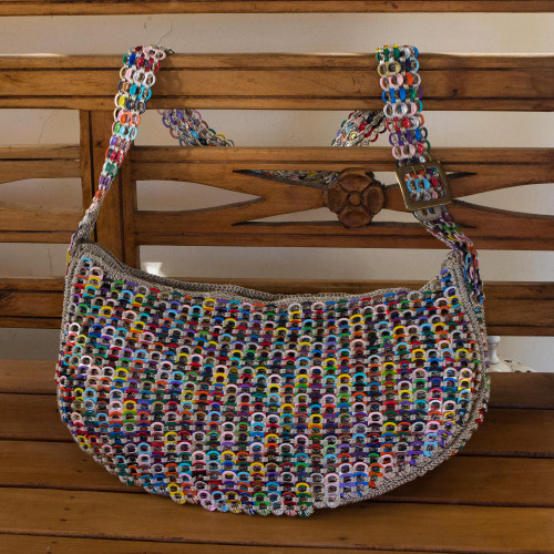 Handcrafted Colorful Soda Pop-Top Hobo Bag from Brazil 'Colorful Wishes'