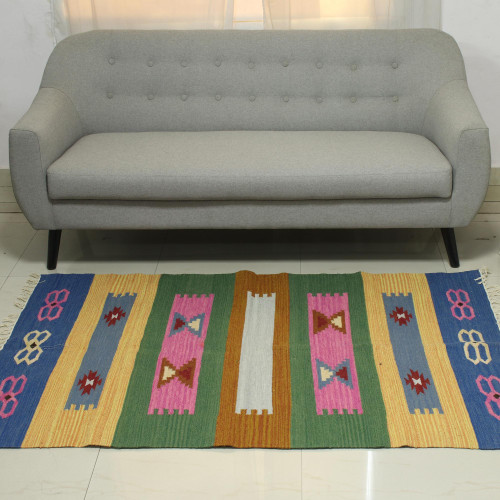 4x6 Handwoven Multicolored Wool Dhurrie Rug from India 'Exciting Vintage'
