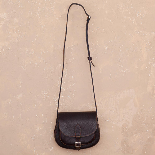 Handcrafted Espresso-Colored Leather Sling from Peru 'Espresso Chic'