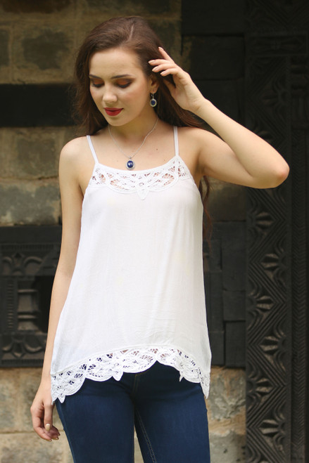 White Rayon Lace Trimmed Camisole Top with Adjustable Straps 'Floral Paradise'