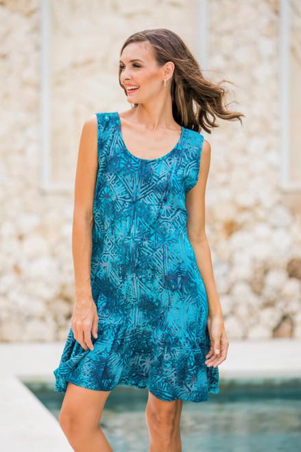 Sleeveless Rayon Batik Shift Dress in Turquoise Print 'Turquoise Glyphs'