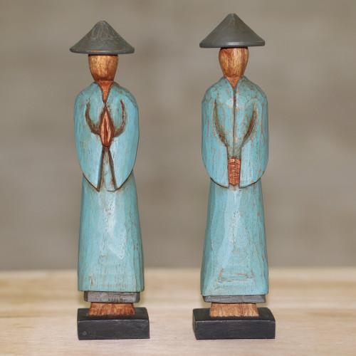 Handmade Albesia Wood Sculpture Pair Indonesian Farmer 'Farmer Greetings'