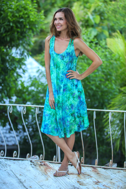 Blue and Green Tie-Dyed Batik Leaves Sleeveless Rayon Dress 'Leafy Path'