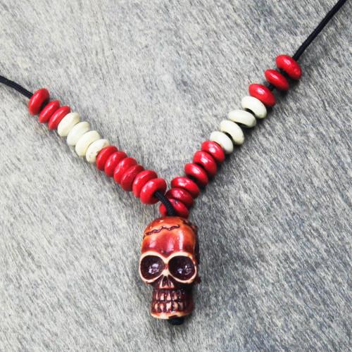 Sese Wood Skull Beaded Pendant Necklace from Ghana 'Adventurous Skull'