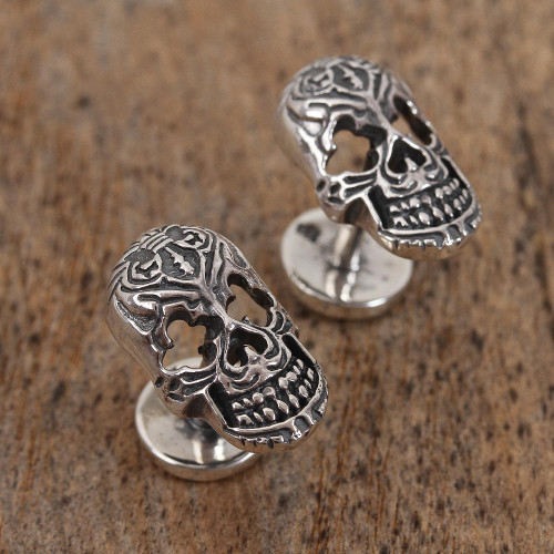 Sterling Silver Skull Cufflinks from Mexico 'Calavera Style'