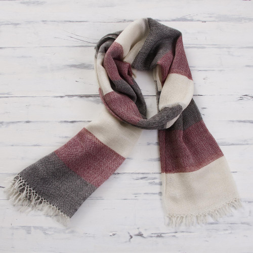 100 Alpaca Wool Dark Red Off White and Black Striped Scarf 'Favorite Cabernet'