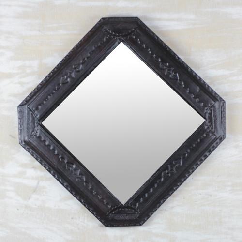 Handmade Diamond-Shaped Leather Wall Mirror from Ghana 'Regal Beauty'