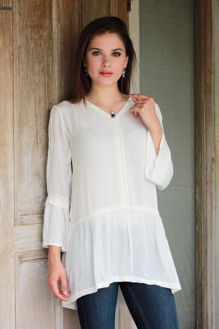 Long-Sleeved White 100 Viscose Tunic with Lace Trim 'Jaipur Charm'