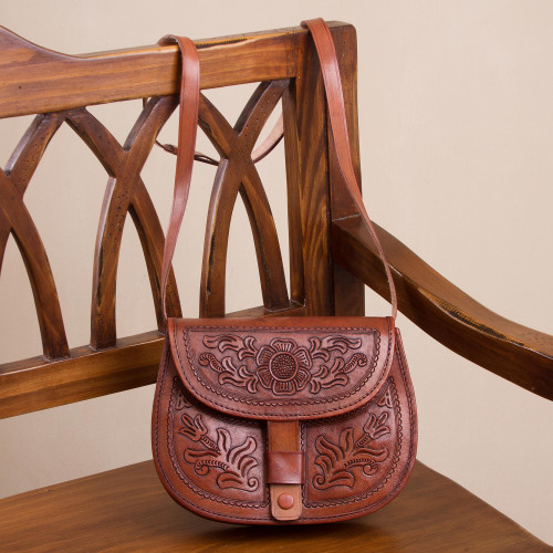 Handcrafted Adjustable Leather Sling Handbag from Peru 'Paradise of Flowers'