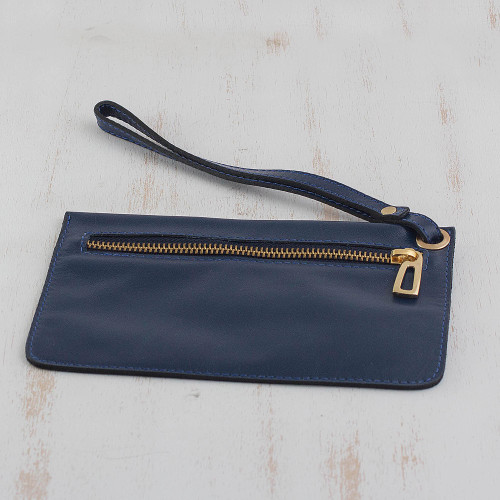 Handcrafted Leather Wristlet in Navy from Brazil 'Navy Sophistication'