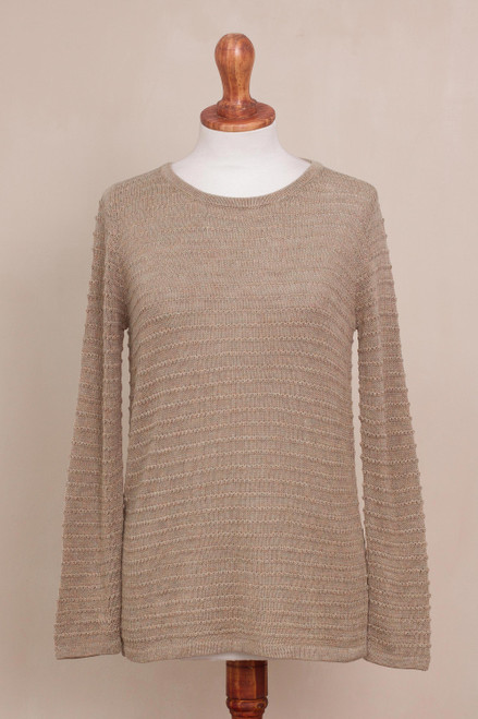 Cotton Blend Sweater in Taupe with Line Patterns from Peru 'Taupe Lines'