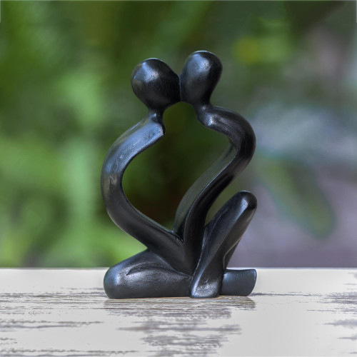 Hand-Carved Black Timeless Love Suar Wood Couple Sculpture 'Timeless Love'