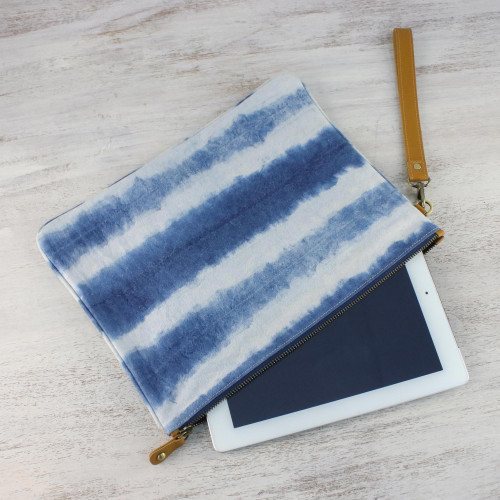 Tie-Dyed Striped Cotton Wristlet in Blue from Thailand 'Sky Stripes'