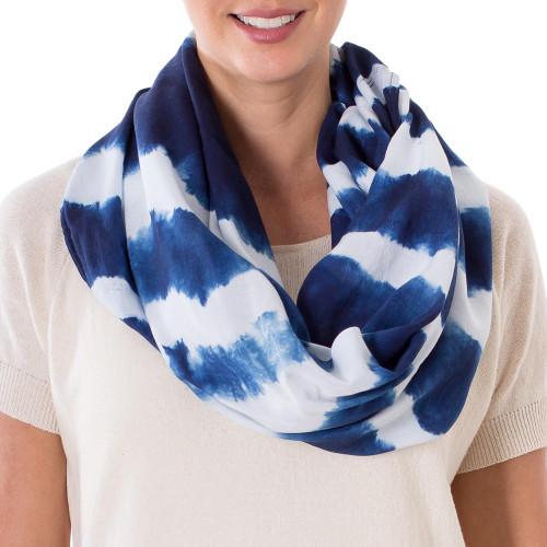 Indigo and White Stripe Shibori Dyed Cotton Infinity Scarf 'Endless Indigo'