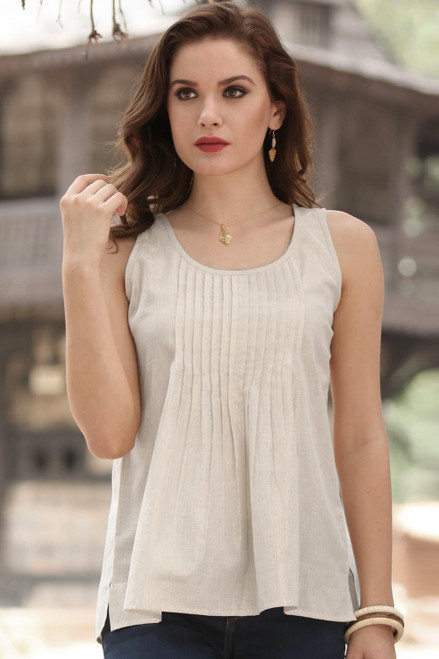 Shimmering Cotton Tank Top Crafted in India 'Golden Dazzle'