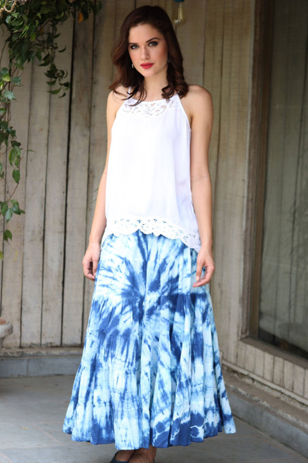 Tie-Dyed Cotton Skirt in Azure from India 'Azure Joy'