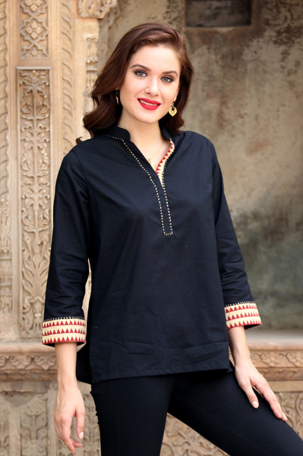 Cotton Tunic in Black with Geometric Accents from India 'Indian Angles'