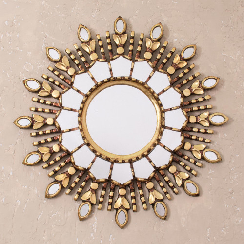 Handmade Bronze Gilded Wood Wall Mirror from Peru 'Radiant Light'