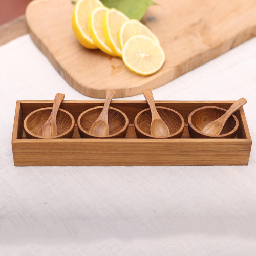Hand-Carved Wood Condiment Set from Bali 9 Piece 'Date Night'