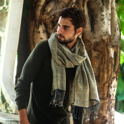 Men's Olive Green and Ochre Handwoven Cotton Fringed Shawl 'River's Edge'