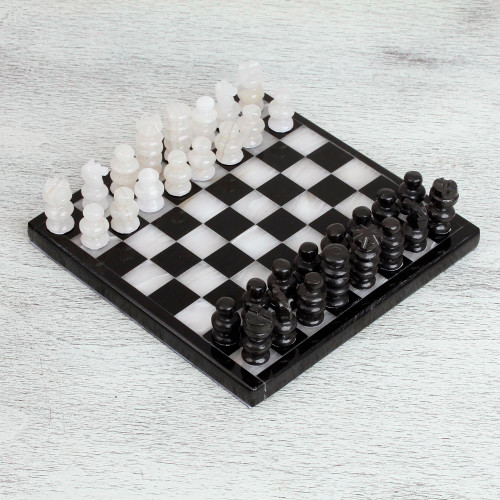Onyx and Marble Chess Set in Black and Ivory 7.5 in. 'Black and Ivory Challenge'