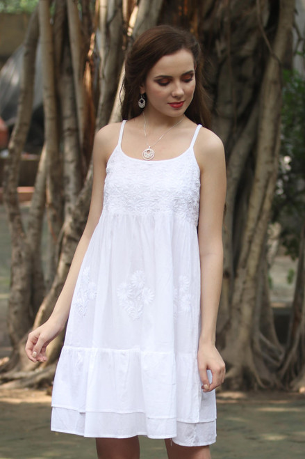 Strappy White Cotton Chikankari Embroidered Dress from India 'Breezy Summer'