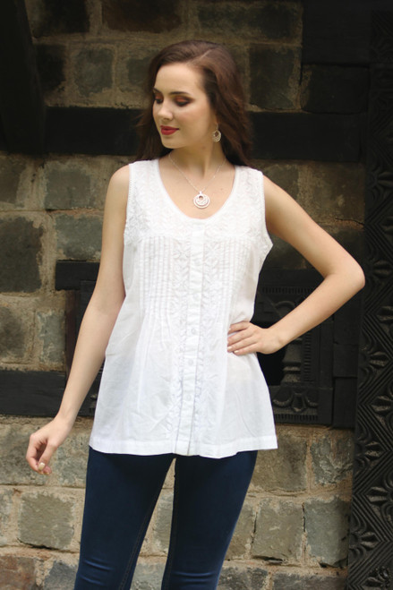 Sleeveless Floral White Blouse Hand Embroidered in India 'Floral Flirt'