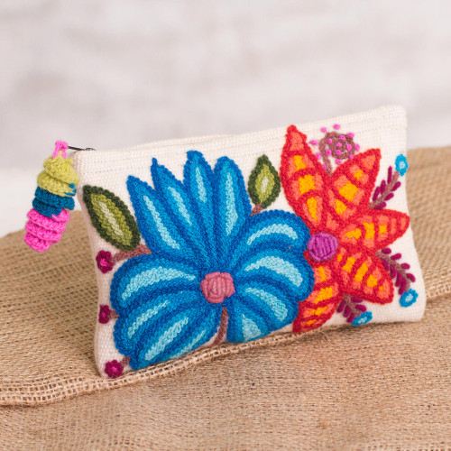 Embroidered Floral Alpaca Clutch in Antique White from Peru 'Wondrous Flowers'