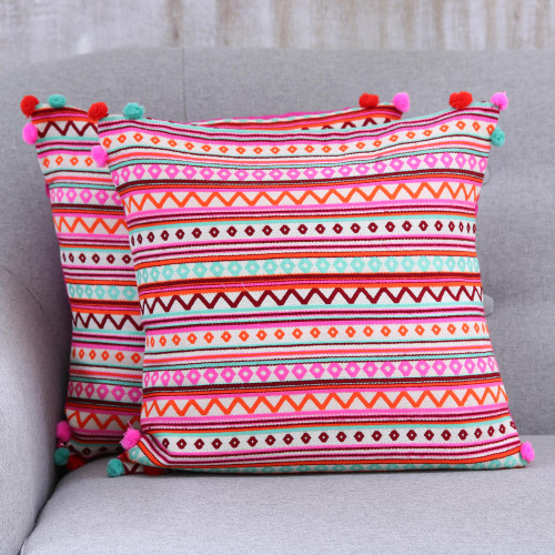 Bright Cotton Blend Cushion Covers from India Pair 'Bubbly Allure'