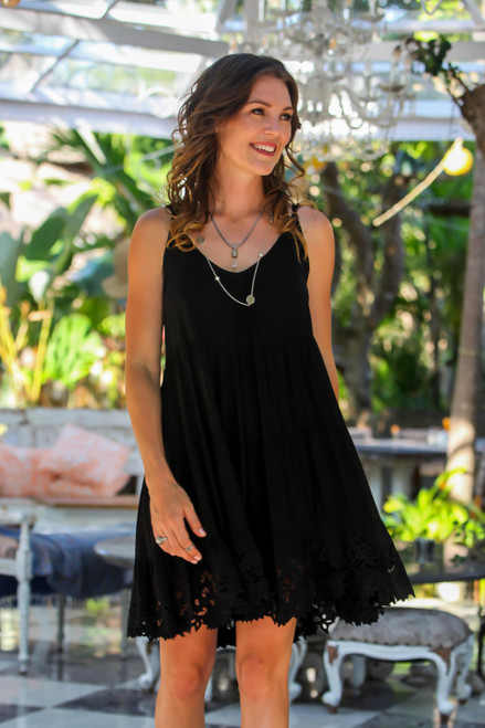 Embroidered Rayon Sundress in Onyx from Bali 'Onyx Dewi'