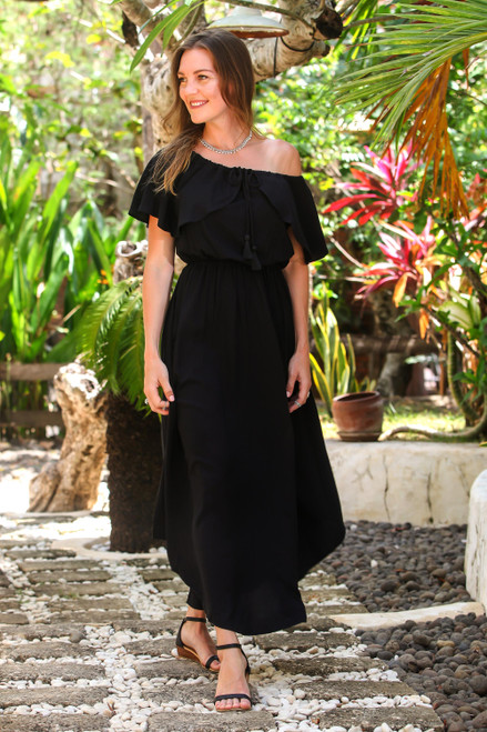 Rayon Sundress in Black from Bali 'Breezy Black'