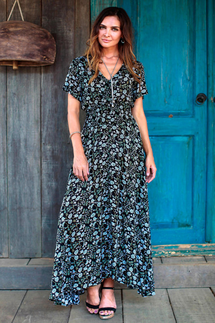 Short Sleeve White and Olive Floral on Black Rayon Dress 'Bali Garden'