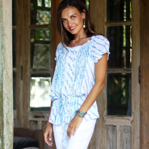 Helix Motif Rayon Off-The-Shoulder Blouse from Bali 'Azure Helix'